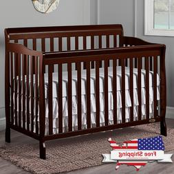 5-in-1 Convertible Baby Bed Full Size Crib Nursery Bedroom F