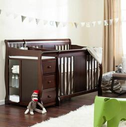 Baby Crib Changing Table Set Infant Nursery Furniture Wood T