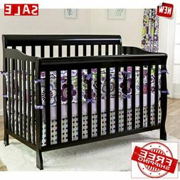 Convertible Baby Bed 5-in-1 Full Size Crib Black Nursery Bed