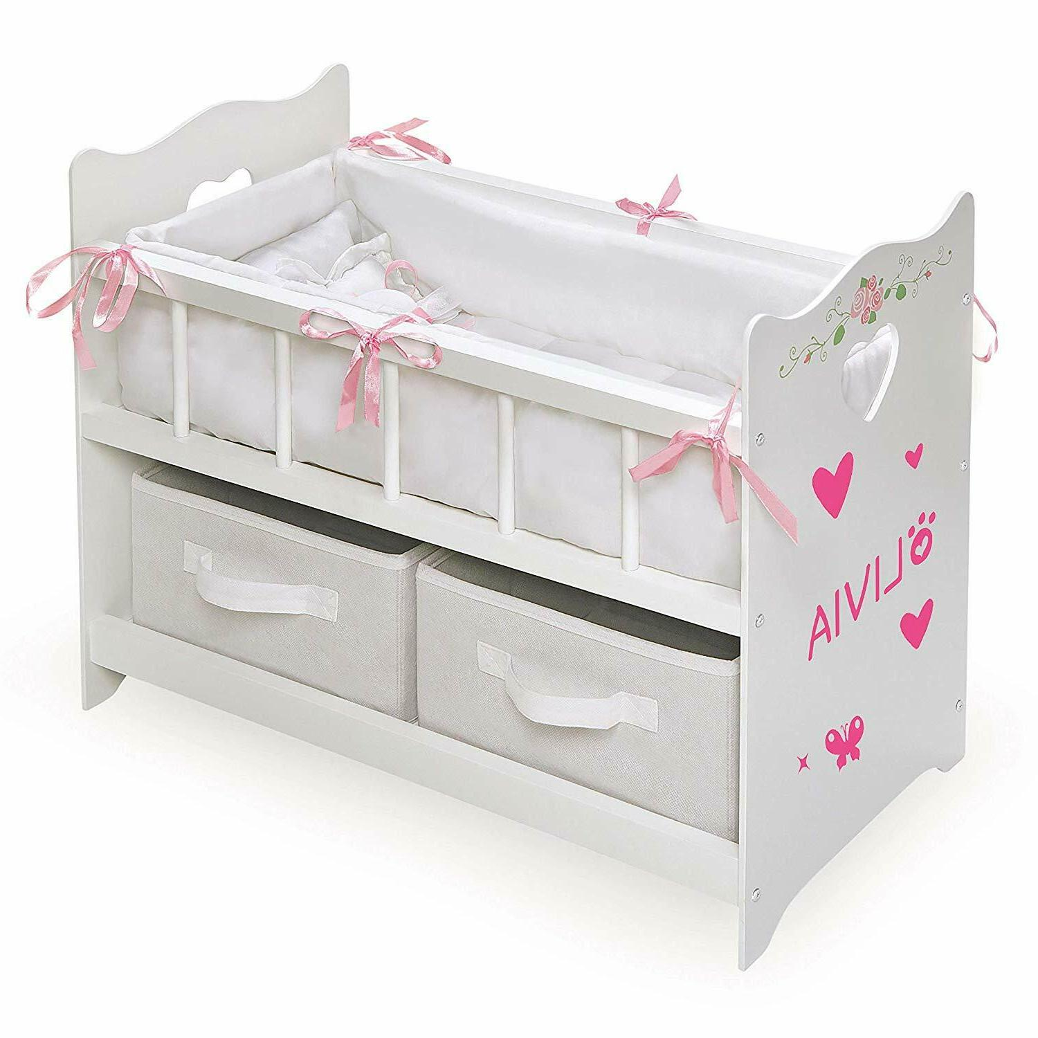 Furniture Baby Doll Crib Wooden Girl Play Bedding Mobile Cra