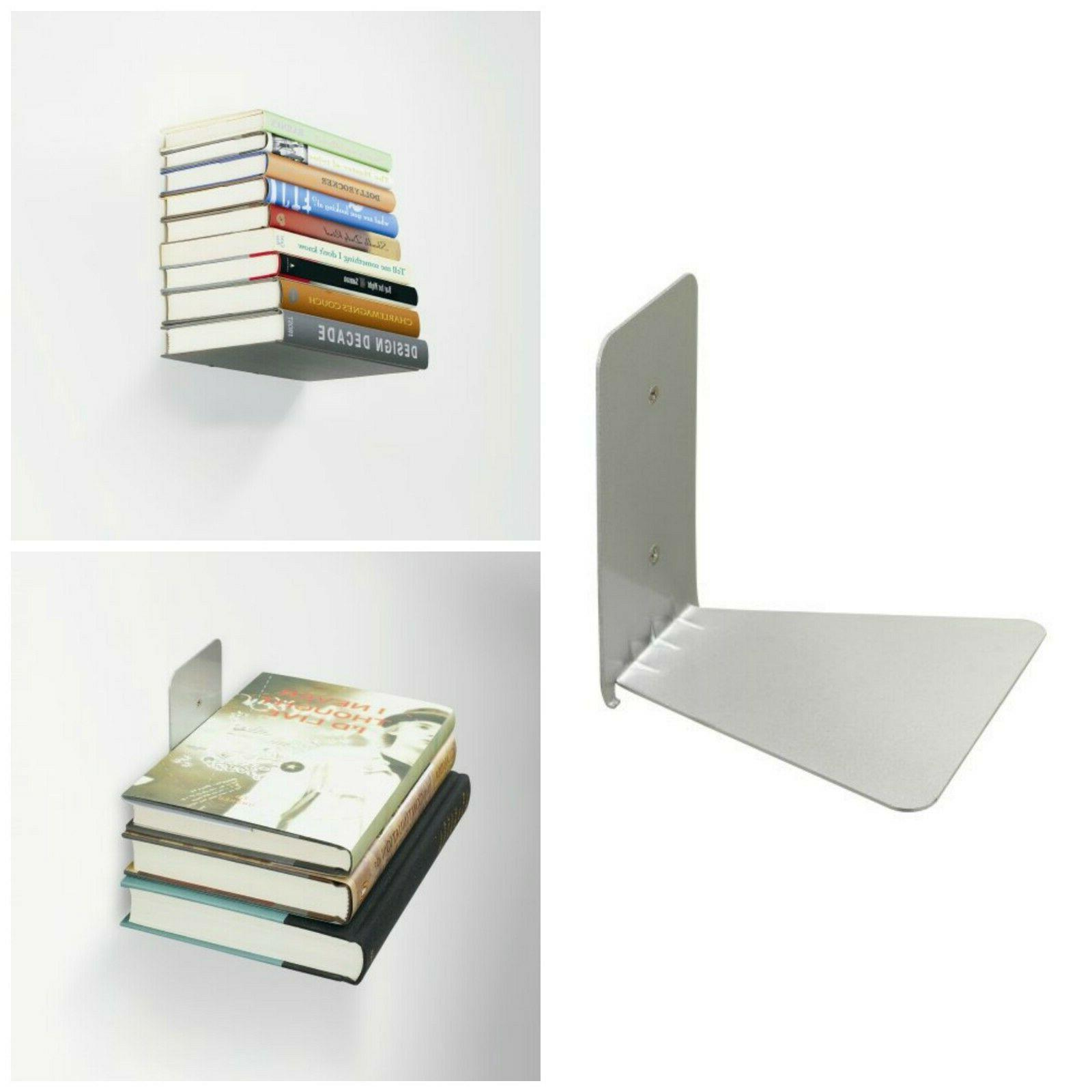 Wall Mounted Hanging Book Shelf Invisible Floating Metal Boo